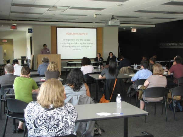"""A group of newcomer service providers attending Gerard Keledjian's presentation on """"Immigration and the Media"""" at the Ryerson Centre for Immigration and Settlement - #CdnImm Event #3"""